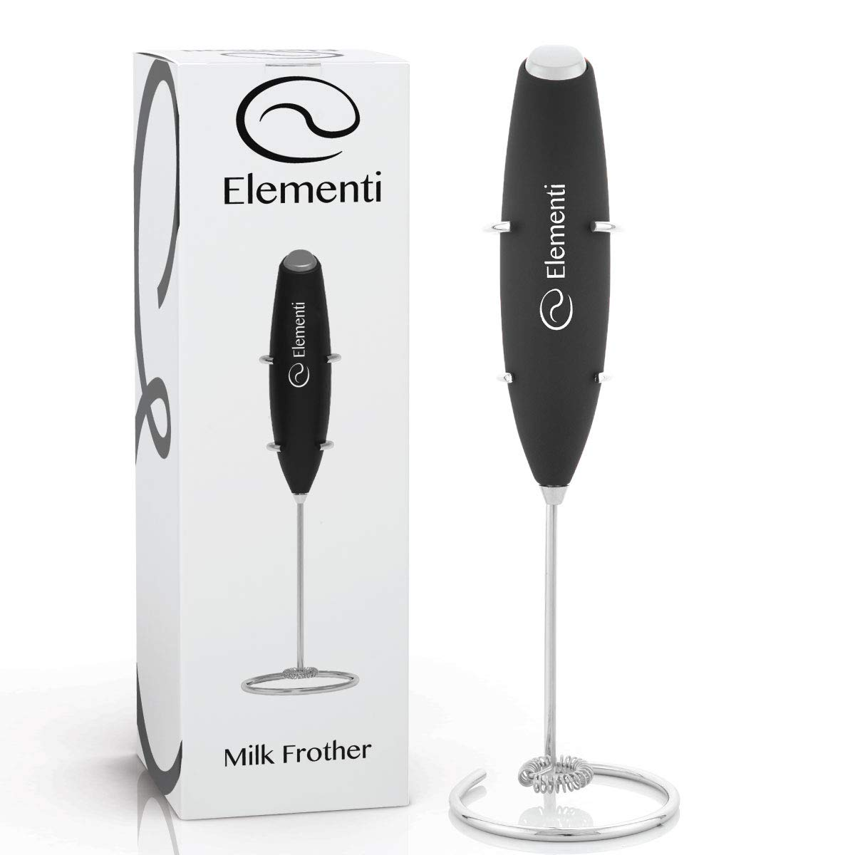 Milk Frother with Stand (Black) - Make Cappuccinos, Lattes and Bulletproof Coffee - Handheld with More Powerful High Torque Motor