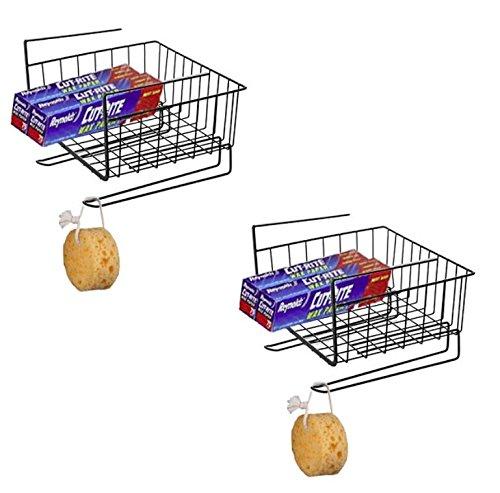 (Maunsell Under Shelf Basket Wire Rack | Slides Under Shelves For Storage | Pack of 2 (Black))