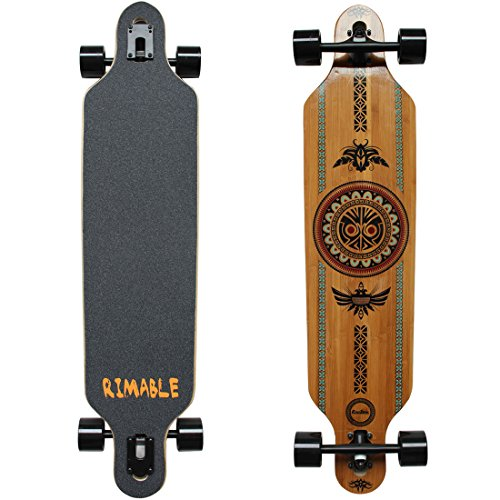 RIMABLE Bamboo Drop Through Longboard (41 Inch, Polynesian) (Bamboo Skateboard)