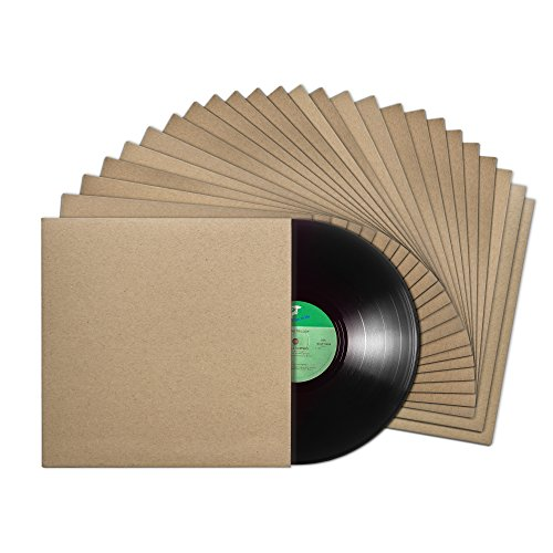 TunePhonik 12-inch Vinyl Record LP Jackets with Spine, Kraft Finish and No Center Hole | 25 Pack | Made in LA