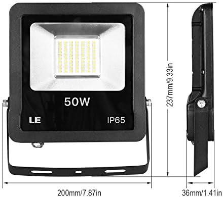 Lighting EVER LED Strahler mit EU Stecker, 50W 4000 Lumen Superhell Fluter, Outdoor IP65 Wasserdicht, 6000 Kelvin Kaltweiß Außenstrahler [Energieklasse A+], 2er Pack