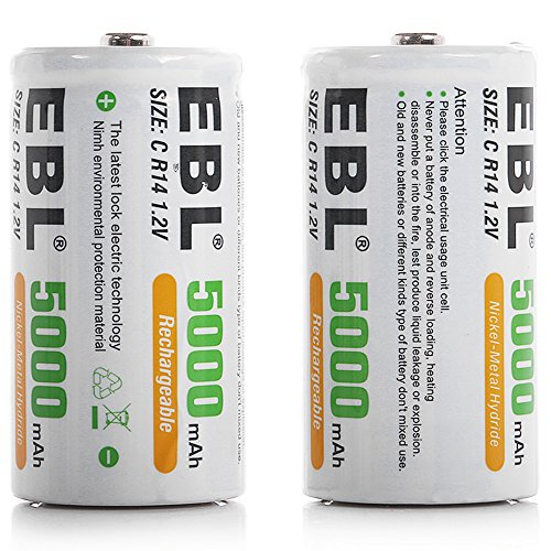 EBL C Size C Cell 5000mAh Ni-MH Rechargeable Batteries, Pack of 2