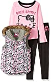 Hello Kitty Little Girls' 3 Piece Tee, Vest, and Legging Set, Multi Colored, 6
