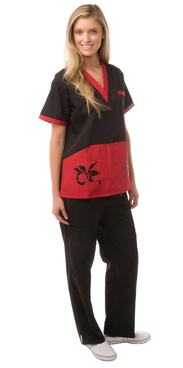 Dress A Med Womens Distinctive Missy Fit Contrast 2 Piece Set Black S