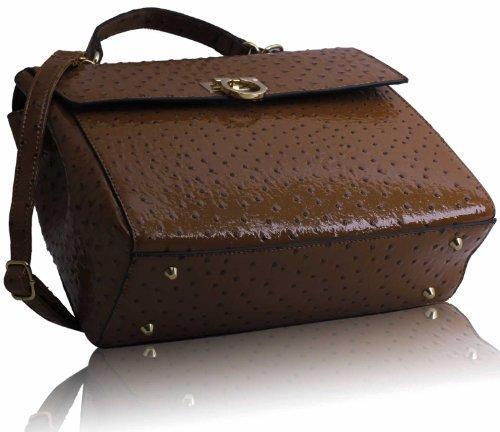 TrendStar - Bolso estilo cartera para mujer marrón - Brown Ostrich Trendy Satchel
