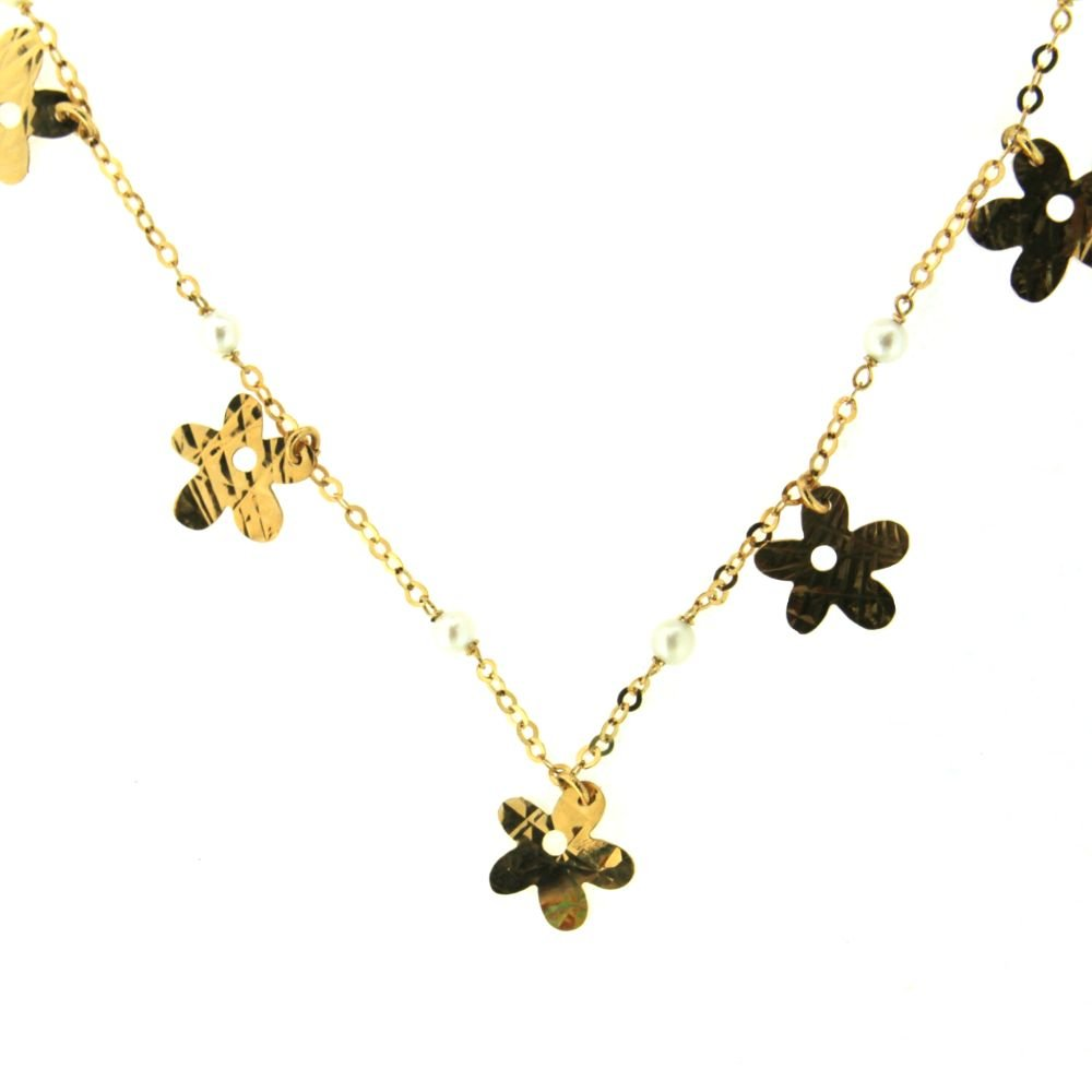 18K Yellow Gold cultivate pearls and gold diamond cut flowers 13.50 inches necklace