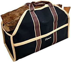 Grillinator Ultimate Firewood Log Carrier - Black - Heavy Duty Durable Tote Bag for Wood - Self Standing Design with Padded Handles - 16 Gallon Capacity for Fireplace, Beach & Groceries
