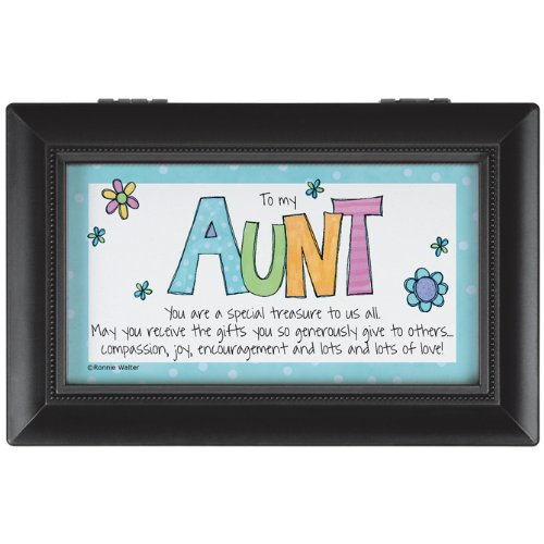 Carson Home Accents 14812 Aunt Rectangle Music Box, 6-Inch by 4-Inch by 2-1/2-Inch