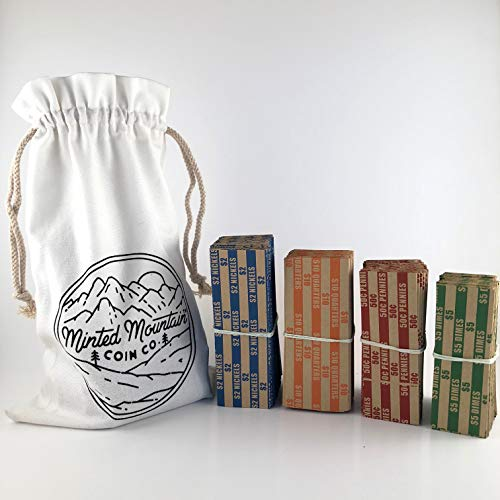Coin Rolls Wrappers | Coin Wrappers | 500 Total (125 of Each) | Penny Wrappers | Quarter Wrappers | Coin Counter and Coin Sorter Paper | Coin Paper for Cash Register or Cash Box