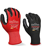 LINCONSON Safety Performance Series Construction Mechanics Gloves Nylon/Polyester Seamless-Knit with Latex Foam Palm