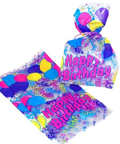 Themed Cellophane Gift Treat Bags - 12 Pieces (Birthday Treat Bags)