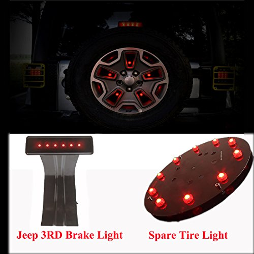 AutoMotor Jeep Wrangler High Mount Spare Tire Wheel Lights Set LED 3rd Third Brake Light & Spare Tire Brake Light Coversion Kit Tail Lights for 2007-2017 JK Jeep Wrangler Wheel Rear Led Lights - Spare Tire Light