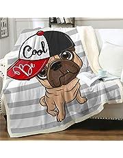 "Famitile Pug Kids Sherpa Fleece Throw Blanket, Cute Cartoon Pug Plush Throw Blanket Super Soft Warm Bed Sofa Chair Throw for Kids and Adults (Pug-6, 47"" x 60"")"