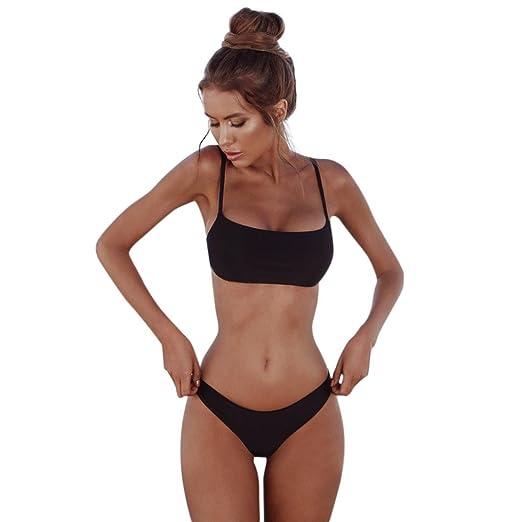77abaeb8816 Amazon.com  HOSOCHRIS Women Sexy Swimsuit Two Piece Basic Style Solid Color  Swimwear Off Shoulder Thin Strap Bikini Set  Clothing
