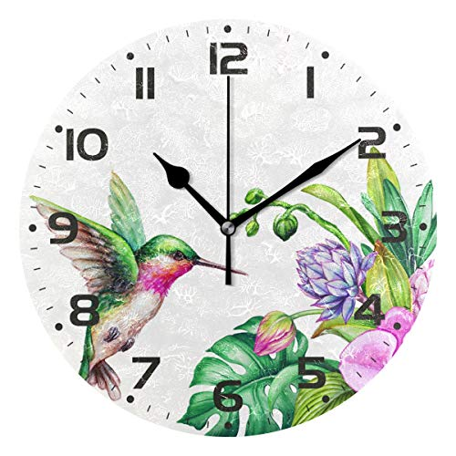 (Naanle Flying Hummingbird Orchid Flower Monstera Jungle Leaves Round/Square/Diamond Acrylic Wall Clock Oil Painting Home Office School Decorative Creative Dual Use Clock Art)