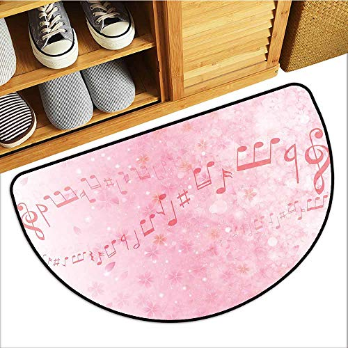 TableCovers&Home Universal Door Mat, Light Pink Indoor Out-Imdoor Rugs for Kitchen, Music Notes Pitch on Romantic Floral Background Classic Rhythm Art Inspiration (Baby Pink, H24 x D36 Semicircle)