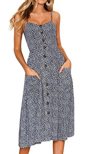 Floral Beach Dress for Women Spaghetti Strap Sundress Button Up Swing Dresses Small 21-Navy Blue