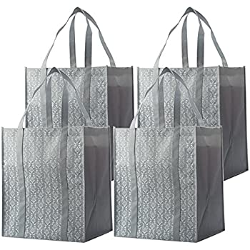 Amazon.com: Reusable Grocery Shopping Box Bags (3 Pack - Gray ...