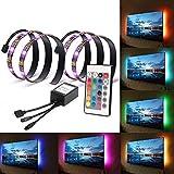 LinkStyle 2Pcs 1.6ft USB RGB Multi Color LED Backlight Bias Lighting Strip Light Mood Lighting with IR Remote for TV HDTV PC Monitor