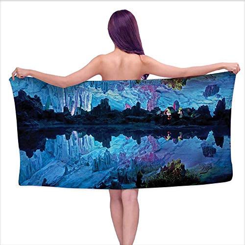 Glifporia Bath Towels Natural Cave,Illuminated Reed Flute Cistern with Artifical Lights Crystal Palace Myst Cave Image,Blue,W12 xL35 for Kids