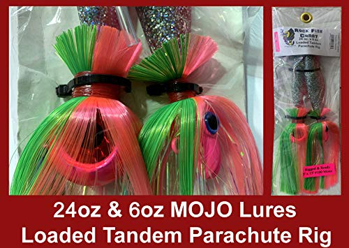 Blue Water Candy - Rock Fish Candy 24 oz & 6 oz Mojo Lures Loaded with 9-Inch Swimbait Shad Bodies Tandem Parachute Rigged & Ready (Pink Mojo on Electric Chicken Shad)