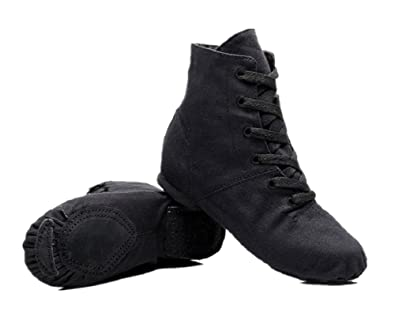 1725042e07f NLeahershoe Lace-up Canvas Dance Shoes Flat Jazz Boots for Practice,  Suitable for Both Men and Women