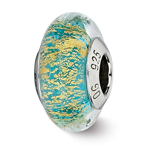 925 Sterling Silver Charm For Bracelet Teal/gold Italian Murano Glass Bead Glas Fine Jewelry Gifts For Women For Her