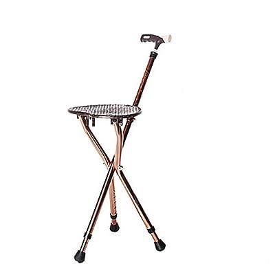 QIAN Béquilles en aluminium personnes âgées à trois pieds de canne tabouret pliant walker chaise polyvalente de canne