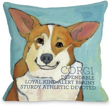 One Bella Casa Corgi 2 Throw Pillow, 18 by 18-Inch