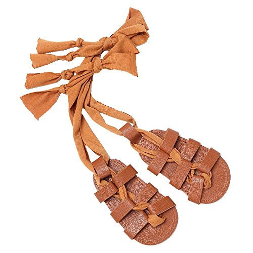 Baby Girl Knee High Open-Toe Lace Up Gladiator Flat Sandals Strappy Summer Shoes Brown Size L