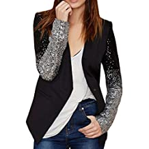Difyou Women's Fashion Long Sleeve Sequin Leather Blazer Jacket Black