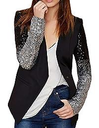 Difyou Women's Fashion Long Sleeve Sequin Leather Blazer Jacket Black