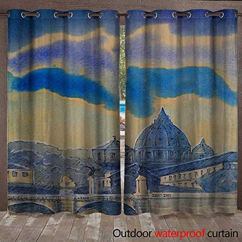 BlountDecor Outdoor Blackout Curtain Basilica Sant Pietro and Ponte Vittorio Emanuele Rome Italy Waterproof CurtainW120 x L108