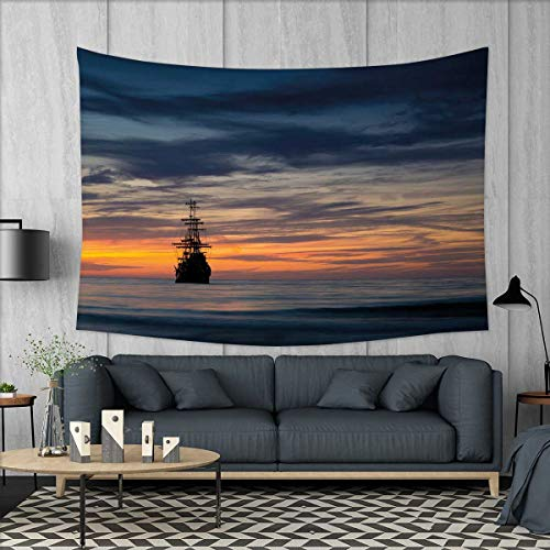 smallbeefly Pirate Ship Customed Widened Tapestry Old Sailboat in Majestic Sunset Scenery Tropical Waters Maritime Wall Hanging Tapestry 90