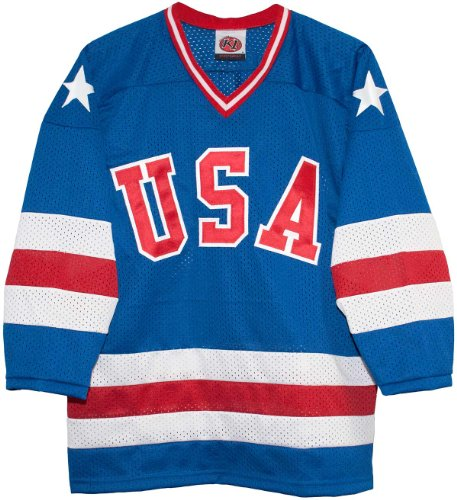 Blue Away 1980 USA Olympic Hockey Replica Game Mesh Jersey Miracle on Ice Adult (Large)