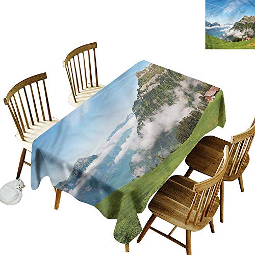one1love Custom Tablecloth Mountain Switzerland Lake Lucerne It's Good to be Home Gorgeous High End Quality 60