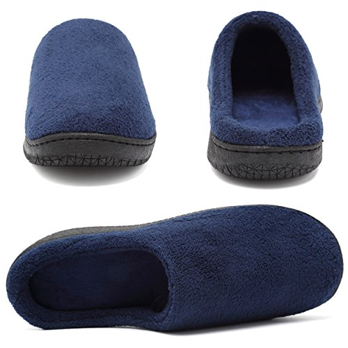 welltree Unisex Soft Short Plush Slip-on Memory Foam House Clog Indoor Slippers Navy Blue -M gSXLZTyI8l