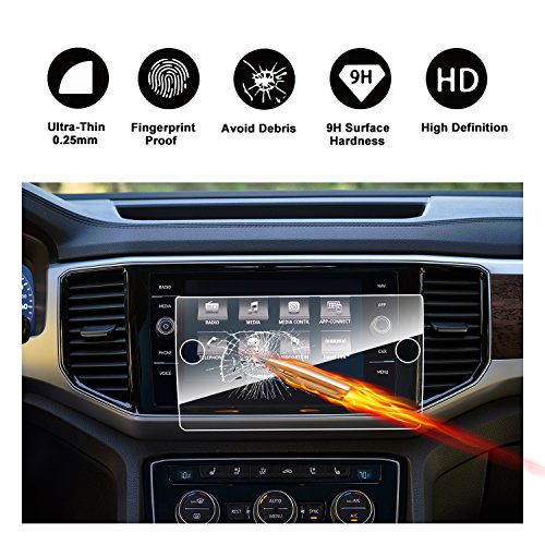 Atlas Pc (2018 Volkswagen VW Atlas 8-Inch Discover Media Touch Screen Car Display Navigation Screen Protector, RUIYA HD Clear TEMPERED GLASS Car In-Dash Screen Protective Film)