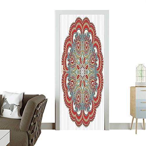 Homesonne Decorative Door Decal ient Macro Mandala Figure with Nature Elements Like Embroidery or Mosaic Stick The Picture on The doorW31 x H79 ()