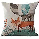 Ikevan Cute Fox Pattern Retro Pillowcase Sofa Bed Home Decoration Square Linen Blend Pillow Case Cushion Cover (D)
