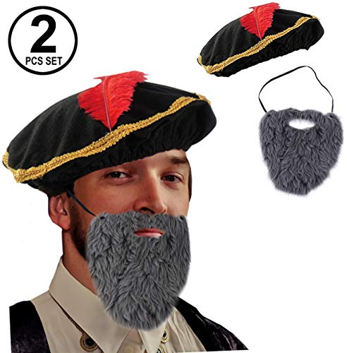 Tigerdoe Renaissance Costume - 2 Pc Set - Medieval Hat with Beard - Minstrel Costume- Renaissance Costume Accessories ()