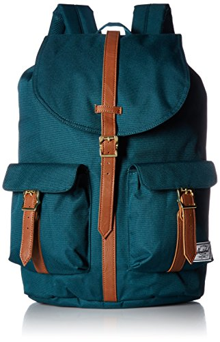 Herschel Supply Co. Dawson Backpack, Deep Teal/Tan Synthetic Leather, One Size