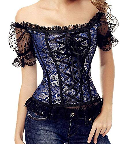 Women's Princess Renaissance Lace up Corset Floral Ruched Sleeves Elegant Overbust Bustier with Straps Top Blue XL