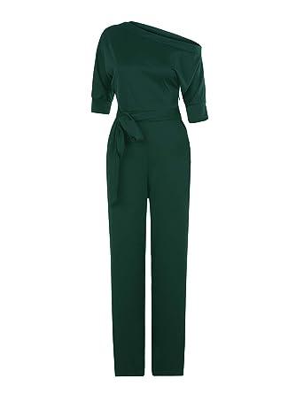 f3e72efe646 Amazon.com  Bigyonger Womens Sexy Off Shoulder Jumpsuits Wide Leg Long  Romper Pants with Belt  Clothing