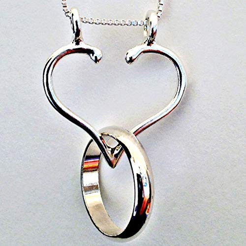 Ring Holder Necklace the Only ORIGINAL Sturdy Open Heart Made in the USA by Ali C Art Handmade .925 Jewelry, Choose Chain 18, 20 or 24 inch. Wedding Engagement Gift for Women Wife Nurse Doctor Mom Her