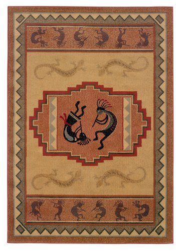 Designer Home Revival Area Rug 130-41217 Ancient Icon Natural Kokopelli Lizard 1' 10