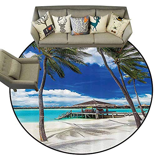 Round Area Rug CarpetBeach Hammock Decor Collection Palm Trees on Tropical Beach with Vibrant Summer Sky Picture Non Slip Rug D63 Ivory Blue Aqua