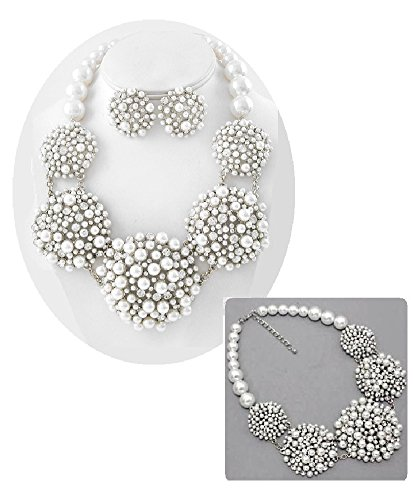 White Pearl Statement Necklace Set Elegant Fashion Jewelry Boxed (#156) (silver-plated-base) by Shoppe23