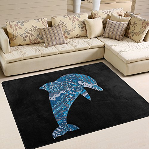 ALAZA Happy Blue Aztec Dolphin Area Rug Rugs for Living Room Bedroom 5'3 x 4'
