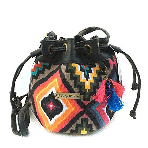 Handbag Style Tote Bag Ethnic Vintage Drawstring Square Women DELEY Tassels Bucket Shoulder Ct8AqppH